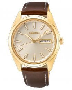Reloj Seiko sur450p1 hombre acero dorado piel cristal zafiro doble calendario