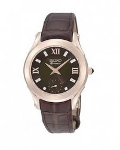Reloj Seiko srkz84p1 Premier para mujer en acero rosa, esfera en marrón con diamantes