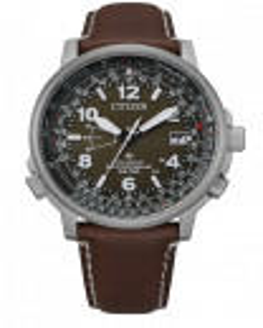 Reloj Citizen cb0240-29x radiocontrolado en acero y piel marrón para hombre, esfera verde, cristal zafiro, cuatro antenas, calendario perpetuo, fecha