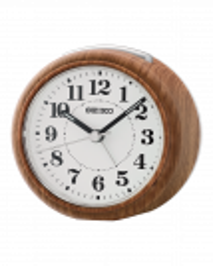Reloj Seiko despertador qhe157b marrón esfera blanca números en negro