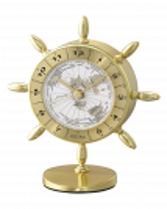 Reloj Seiko de sobremesa qhg107g forma timón en aluminio caja dorada y esfera blanca, horario mundial